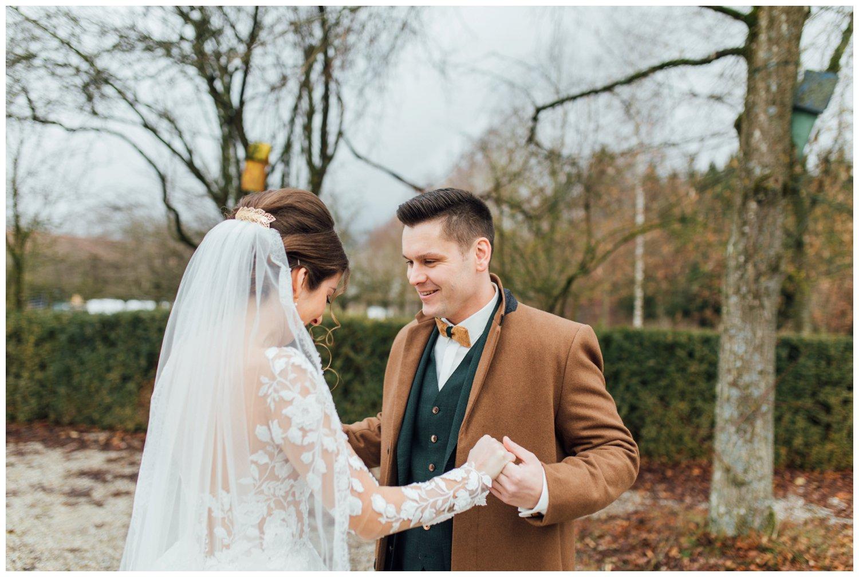 First Look Braut und Bräutigam Hochzeit